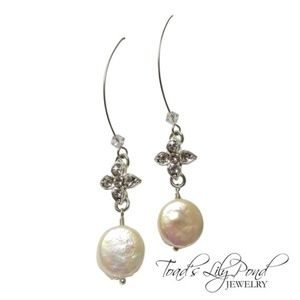 Long freshwater pearl earrings